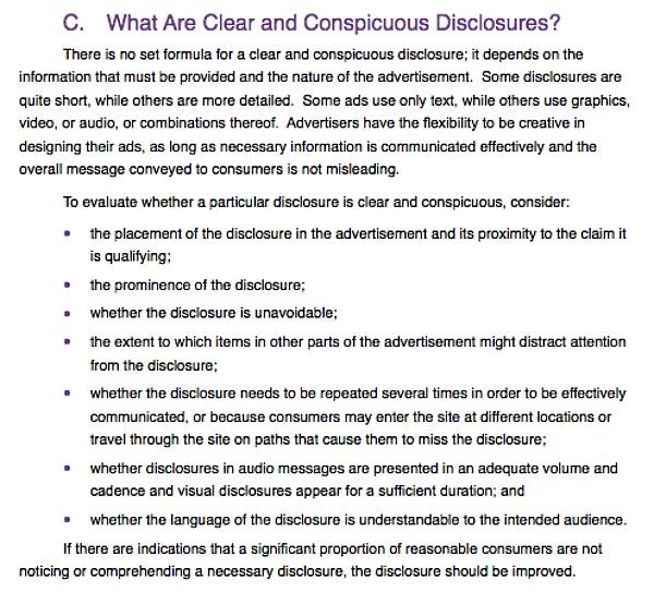 FTC Disclosure Rules
