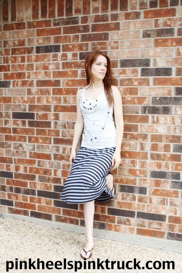 #Black and #Gray #Striped #Maxi #Skirt // Pink Heels Pink Truck