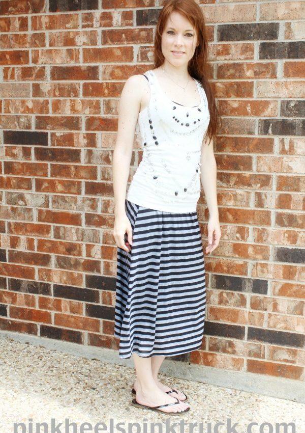 Random Wednesday: Black and Gray Striped Maxi Skirt