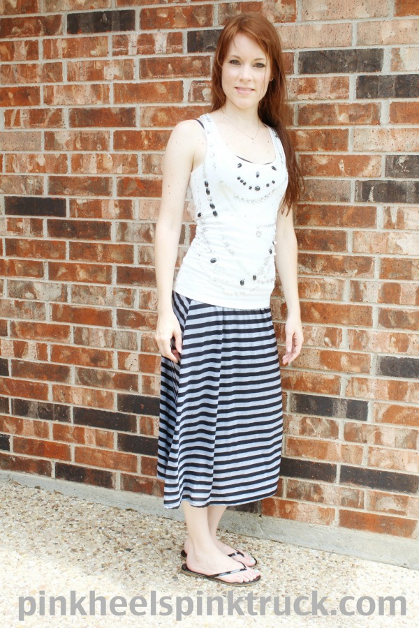 Black and Gray Striped Maxi Skirt // Pink Heels Pink Truck
