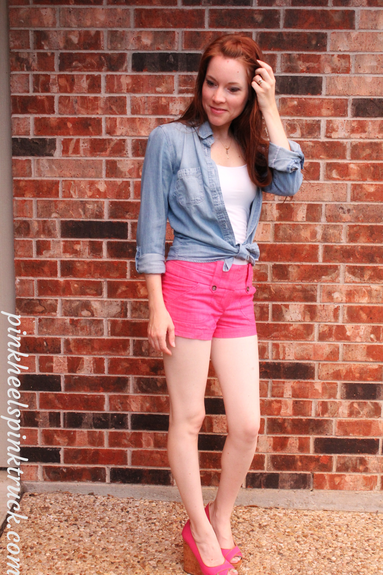 Pink Shorts with Chambray Top // Pink Heels Pink Truck