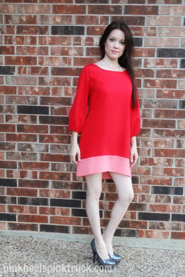 Red Dress with Bow and Sparkly Heels // pinkheelspinktruck.com