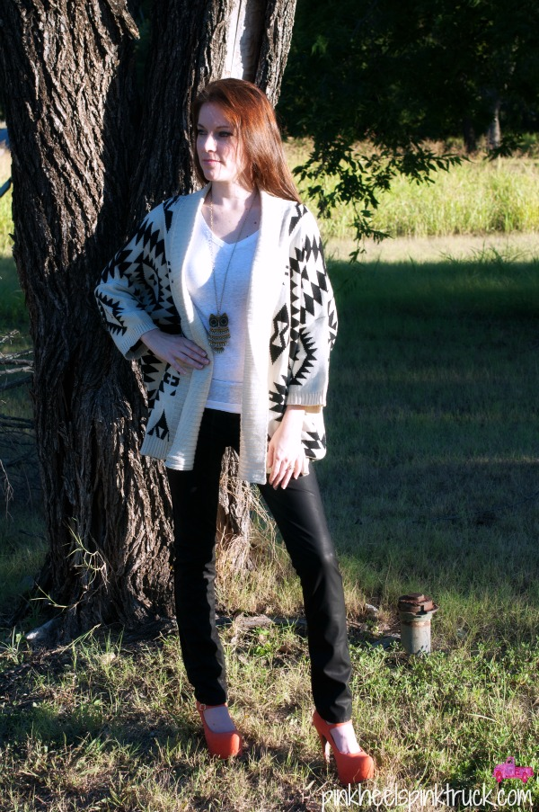 Aztec Cardigan with Leather Pants