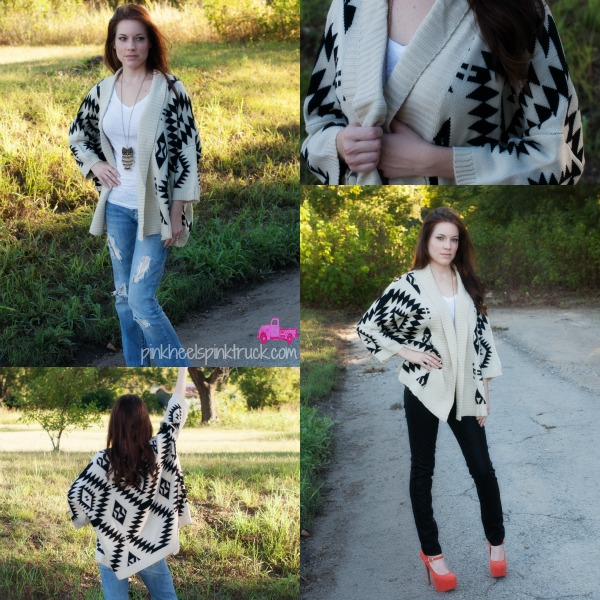 Showing off an Aztec Cardigan (worn 2 ways) from Threads and Soul Boutique.