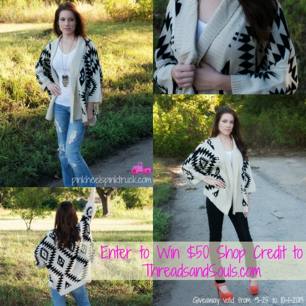 Enter to win a $50 Shop Credit to ThreadsandSouls.com Online Boutique (Must be 18 years or older. US Residents Only. Valid from 9-25 to 10-1-2013) #giveaway #fashionboutique #clothingboutique #fashion #style Enter via pinkheelspinktruck.com
