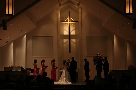 At the altar. My grandfather officiated our ceremony.