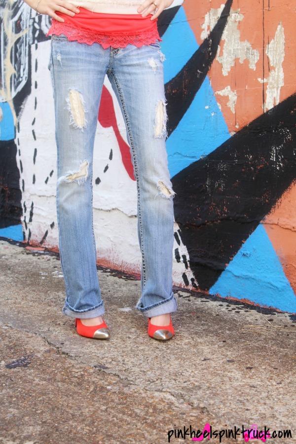 White Sweater Top, Orange Cami, Custom Denim Jeans and Gold-Tipped Orange Highheels