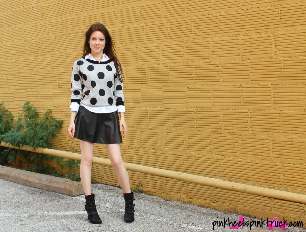 Polka Dot Sweater (Rue21), White Button-up Shirt (Rue21), Leather Skirt (Marshalls), Black Booties (JustFab.com)