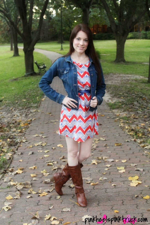 Chevron Dress from Threads & Souls, Denim Jacket from Old Navy, Boots from JustFab.com