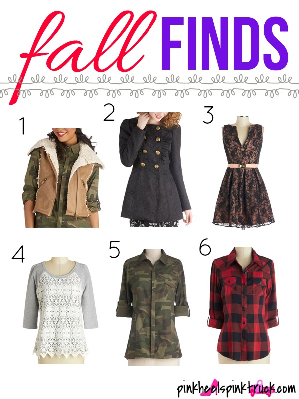 Fall Fashion Finds featuring Vests, Coats, Dresses, Lumberjack and Camo