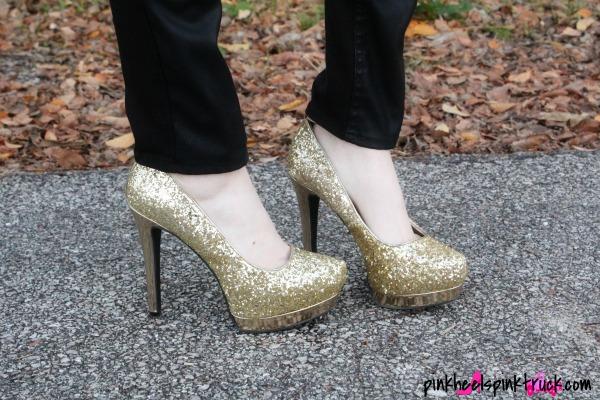 Gold Sparkly High Heels