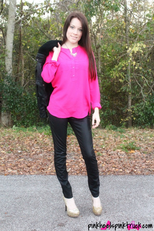 Leather Bomber Jacket with Pink Flowy Blouse paired with Leather Pants and Gold Sparkly High Heels