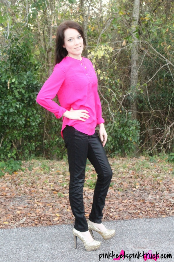 Pink Flowy Blouse, Leather Pants and Gold Glitter High Heels