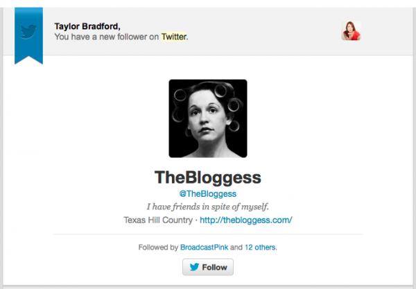 The Bloggess is following me on Twitter