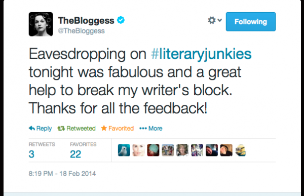 The Bloggess acknowledges the #literaryjunkies