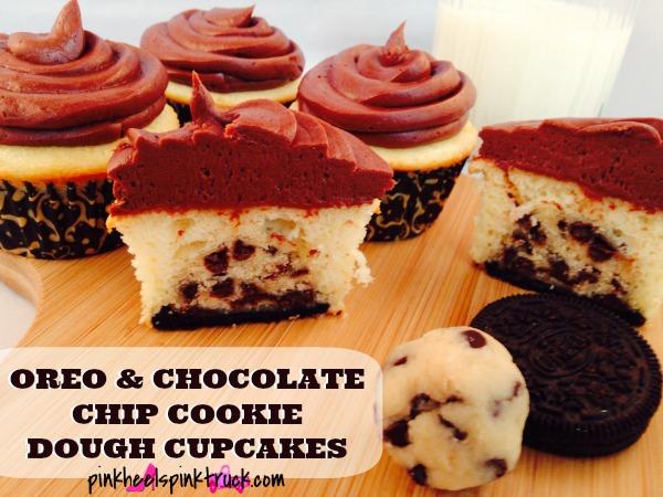 Oreo and Chocolate Chip Cookie Dough Cupcake Recipe