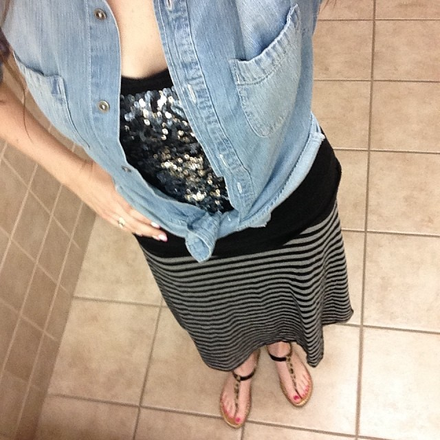 Chambray Top with Sequined Tank, Striped Maxi Skirt and Leopard Print Sandals