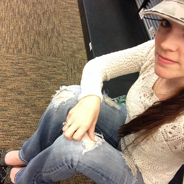Crochet Sweater Top, Roughed up Jeans, Camo Flats and Camo hat.