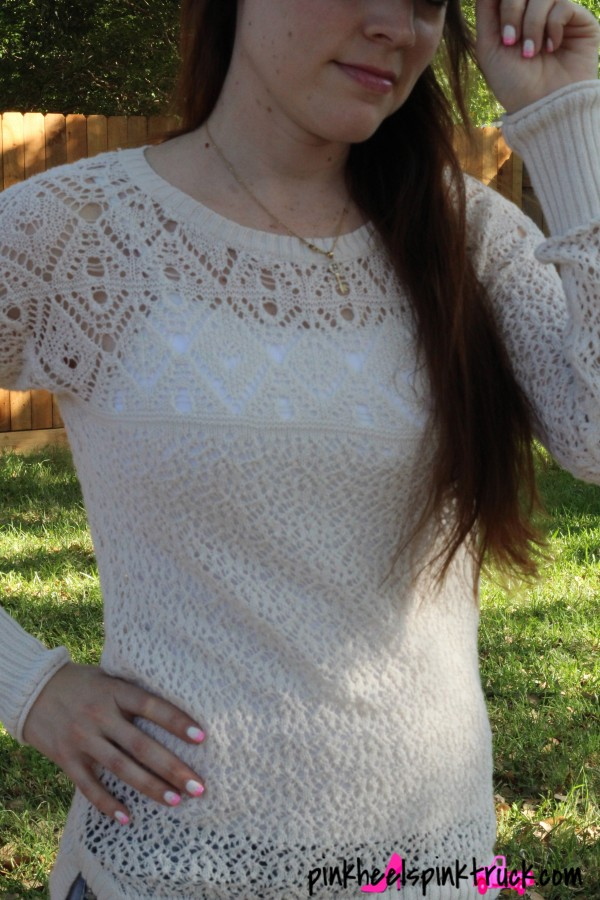 Pair a crocheted sweater top with your favorite cami! Perfect for spring!