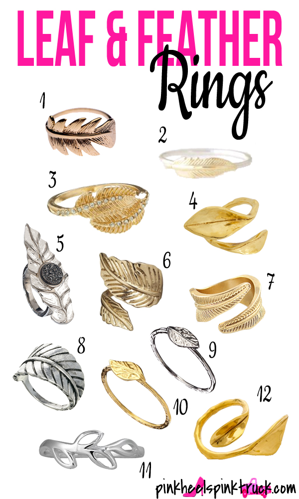 Looking for some boho chic rings? Add a feather or a leaf ring to your jewelry mix!