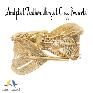 Chloe + Isabel Sculpted Feather Hinged Cuff Bracelet