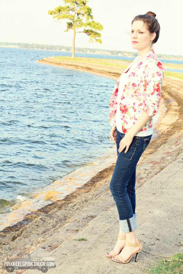 Floral Blazer, Skinny Jeans, Plain White T-shirt, Strappy Heels