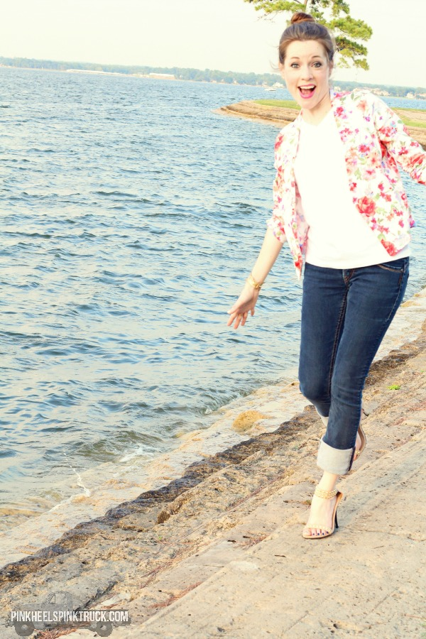 Floral Blazer, Plain White Tee, Skinny Jeans, Strappy Heels