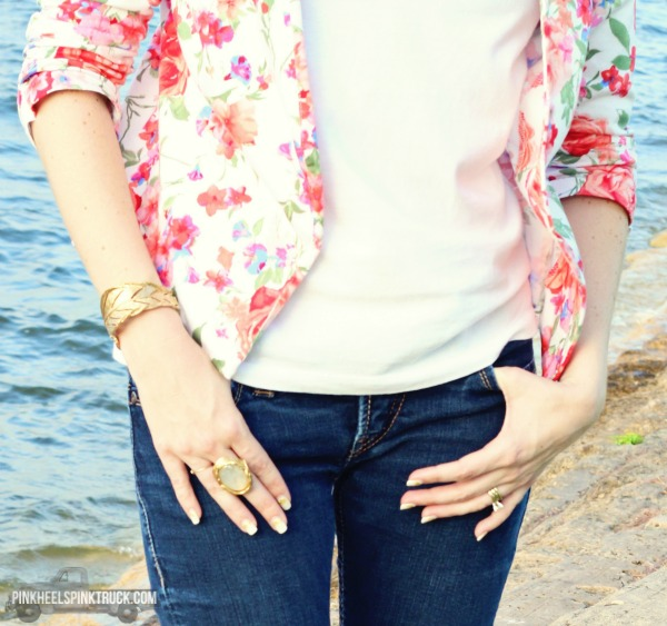 Floral Blazer, Plain White Tee, Chloe + Isabel Feather and Cabochon Ring, Chloe + Isabel Sculpted Feather Hinged Cuff Bracelet