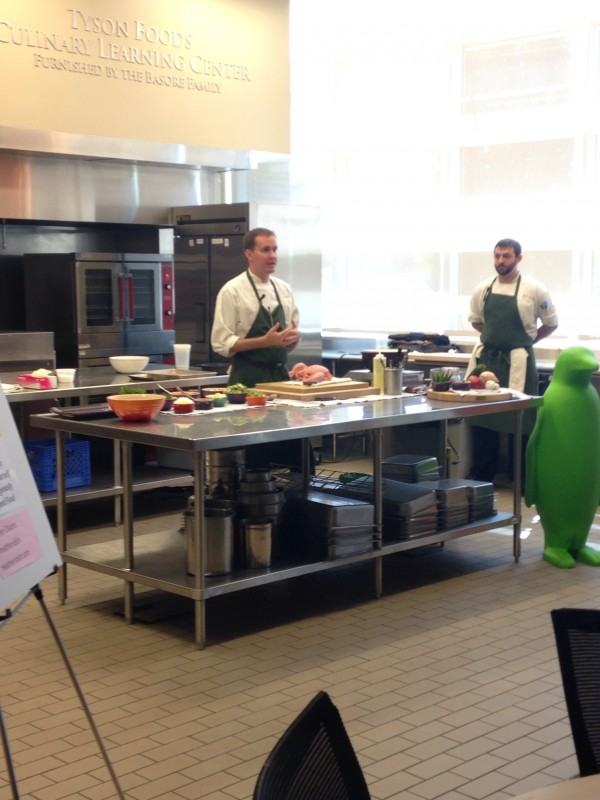 Chef Matthew McClure from The Hive demonstrating an amazing Chicken Dish at Foodie Friday
