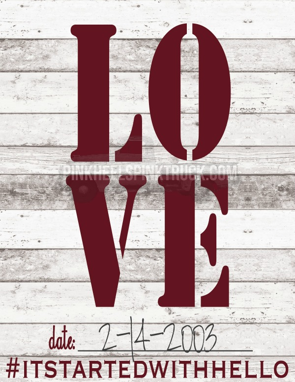 #ItStartedWithHello LOVE Printable FREE