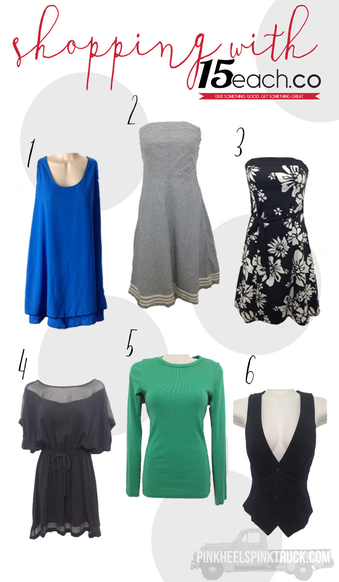 Are you a bargain fashionista? Then you've got to check out 15each.co...Everything is $15!! AND they donate $3 for every item purchased to charity!!