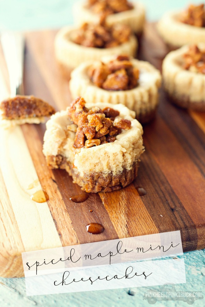 These Spiced Maple Mini Cheesecakes feature a gingerbread cookie crust and a ginger cookie, pecan and maple syrup crumble on top. Super yummy!!