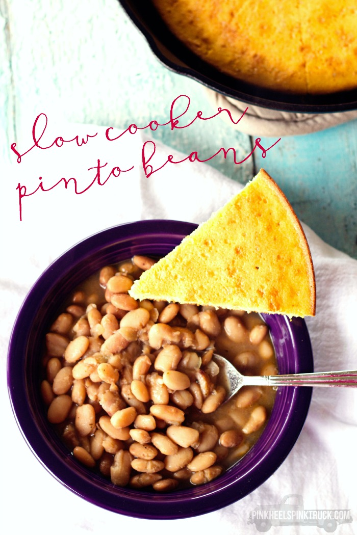 Needing an easy Crockpot recipe? Drop everything in the pot in the morning and you'll have a filling dish for supper! Try out this Slow Cooker Pinto Beans Recipe!! Crockpot Recipes you'll enjoy!