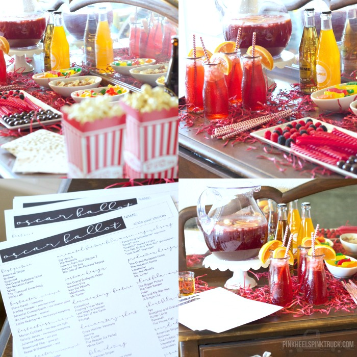 his fun DIY Popcorn and Candy Bar is sure to be a hit at your next Oscar party (or movie night)! Pick your favorite candy, several kinds of popcorn, a yummy cocktail, your Oscar Nomination Voting sheet, your best friends/family and you'll be all set!