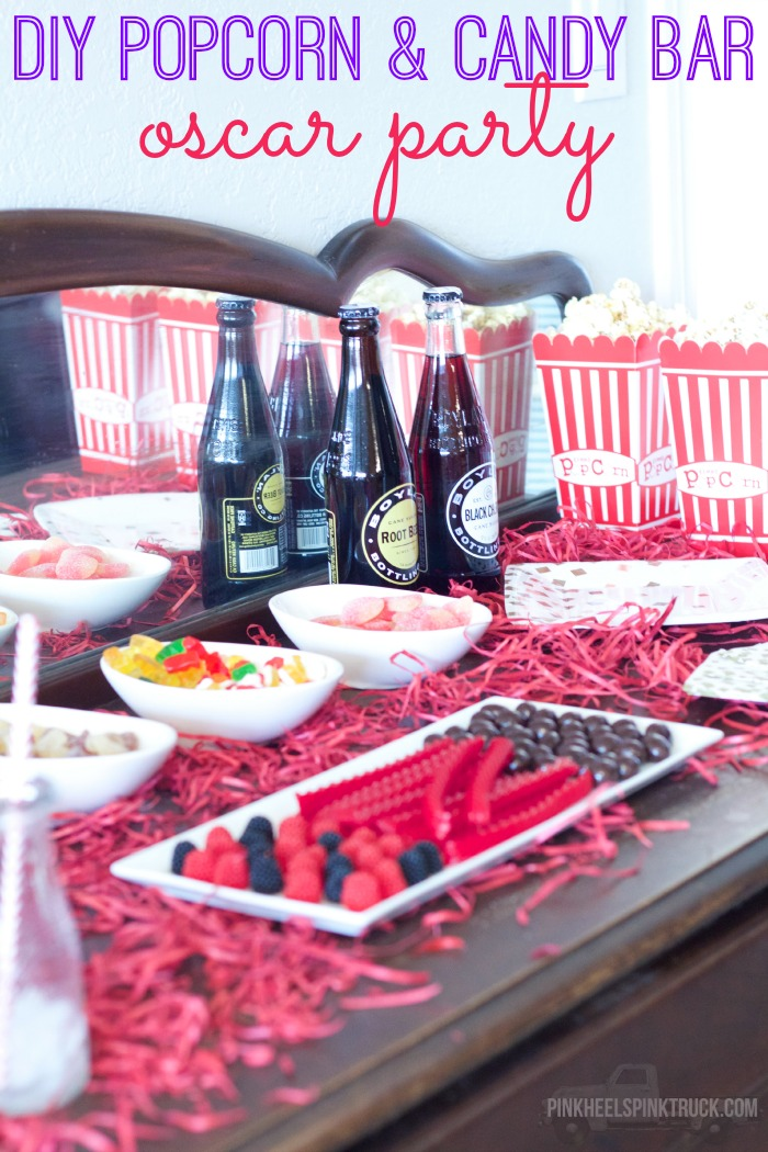 This fun DIY Popcorn and Candy Bar is sure to be a hit at your next Oscar party (or movie night)! Pick your favorite candy, several kinds of popcorn, a yummy cocktail, your Oscar Nomination Voting sheet, your best friends/family and you'll be all set!