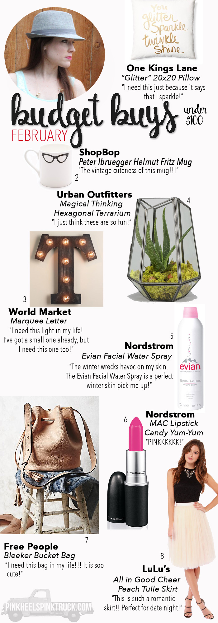 Loving this month's Budget Buys under $100...World Market, Glitter Pillow, Terrarium, Bucket Bag, Vintage Mug, Pink Lipstick and more!