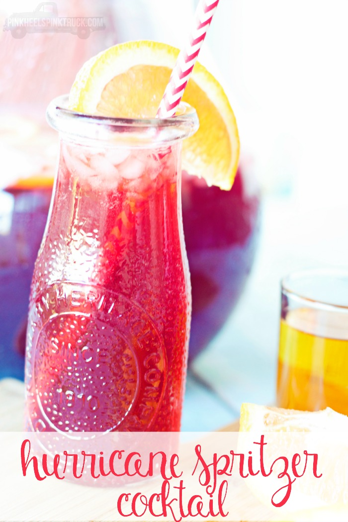 This Hurricane Spritzer Cocktail can be made with or without alcohol! Making it the perfect party punch recipe!
