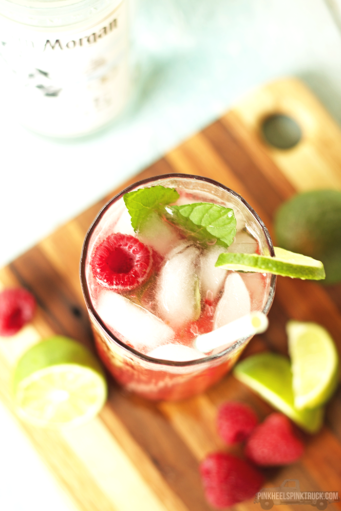 Raspberry Chocolate Mint Mojito Cocktail