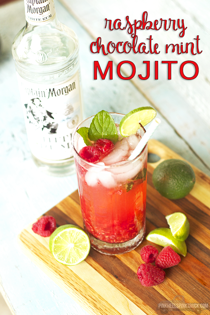 This is your next cocktail!! The Chocolate Mint pairs perfectly with the Raspberries creating a party in your mouth! Try out this Raspberry Chocolate Mint Mojito Cocktail!