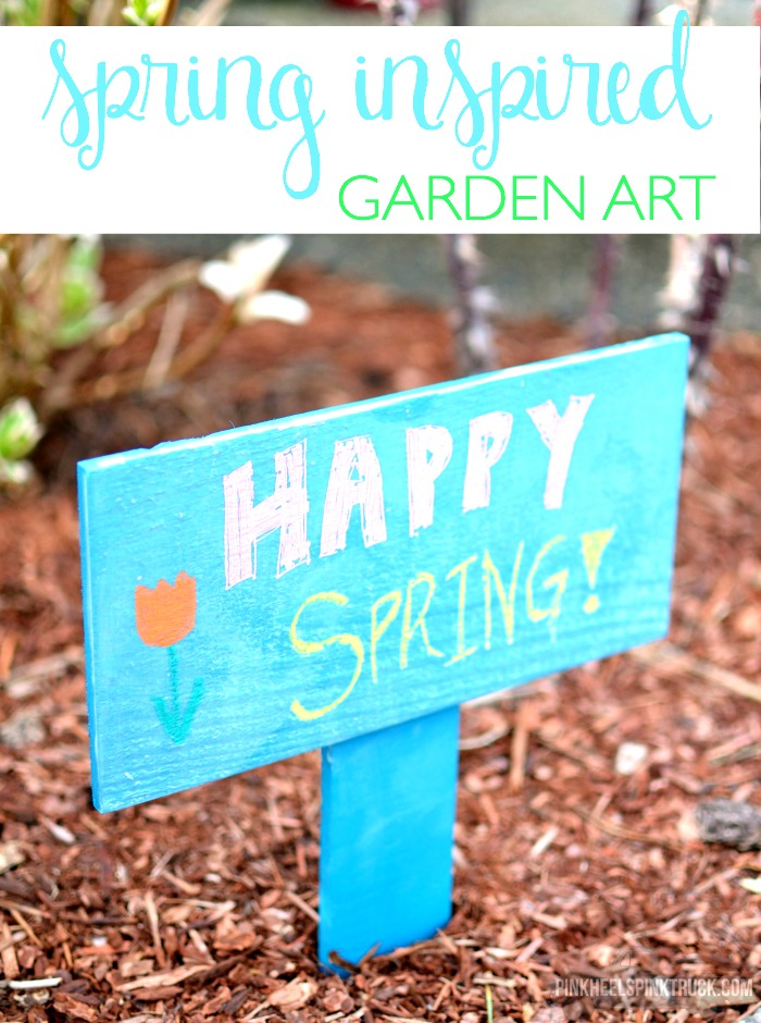 Simple Spring Inspired Garden Art using a pallet! An easy DIY project to brighten up your garden!