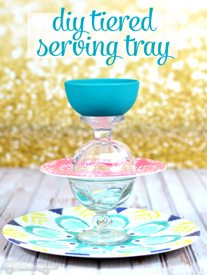 This fun DIY Tiered Serving Tray would make the perfect addition to any party or soiree!