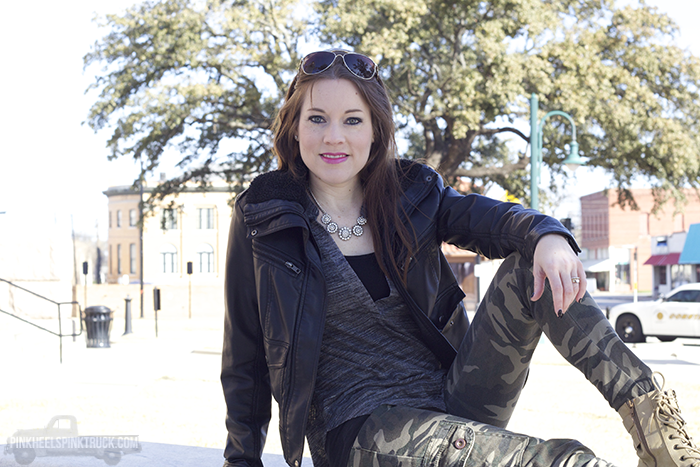 This Leather and Camo outfit is a fun in between seasons look...when the mornings are still a bit cool outside. Leather bomber jacket, gray knit top, camo skinnies, combat-style boots, and aviator sunglasses.