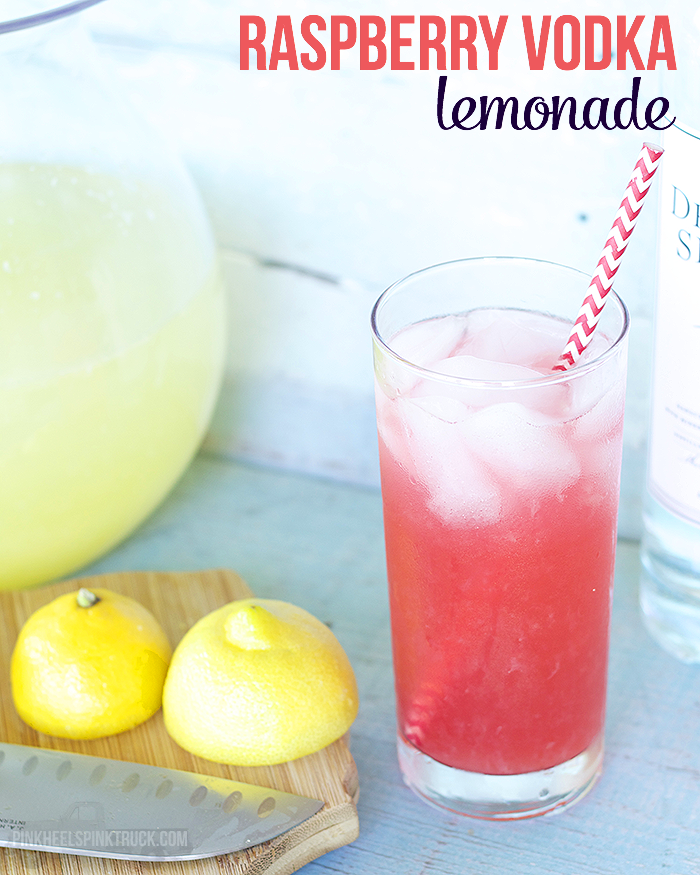 Raspberry Vodka Lemonade. Bring on summer! Recipe from Pink Heels Pink Truck
