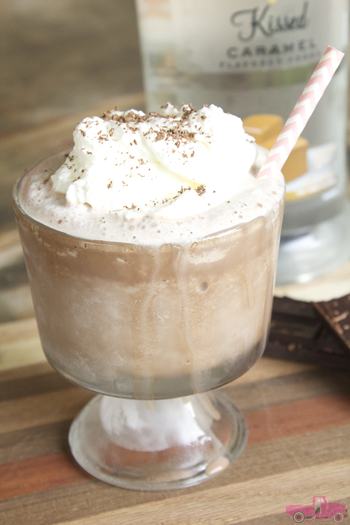 Y'all! You have to try this Boozy Frozen Caramel Hot Chocolate. Oh.So.Good!! And an amazing reason to serve Hot Chocolate all year round!!