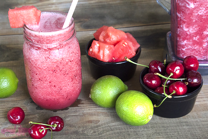 Y'all it's watermelon season and this drink needs to be your new favorite!! A perfect summer beverage to enjoy on a hot day. Try my Boozy Watermelon Cherry Slushy