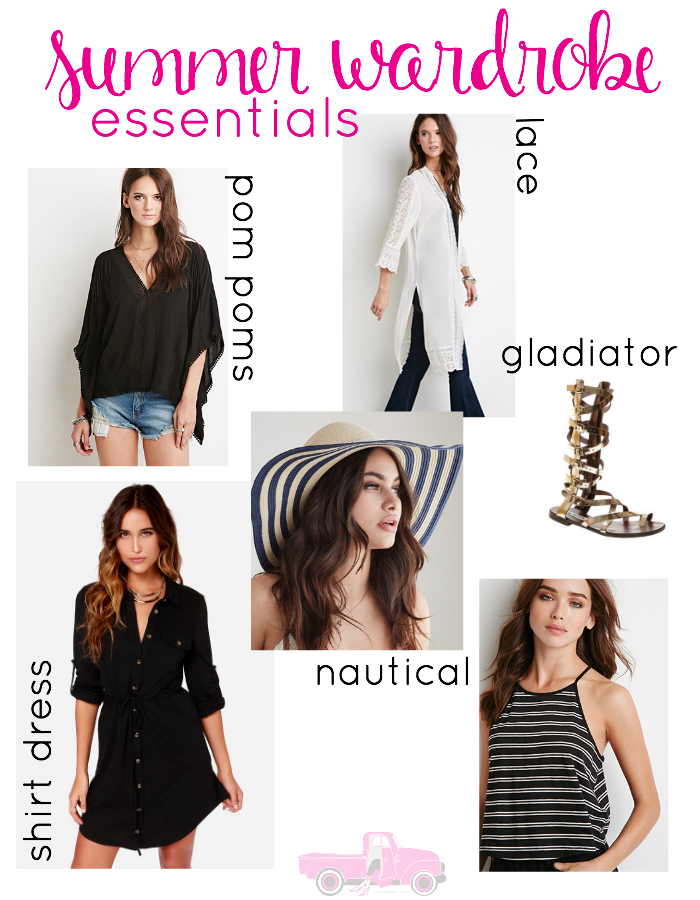 Looking for some fun summer trends to add to your closet? Check out these 6 Summer Wardrobe Essentials...lace, pom poms, gladiator sandals and more!