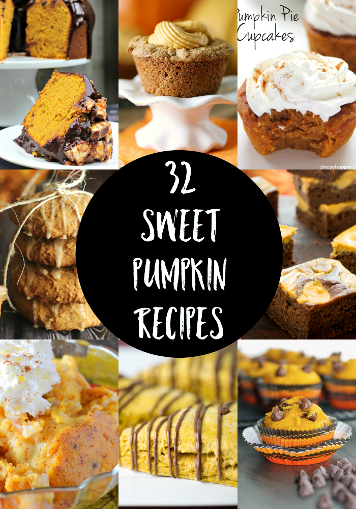 Love Pumpkin as much as I do? Then you will LOVE these 32 Sweet Pumpkin Recipes!! Happy Baking!