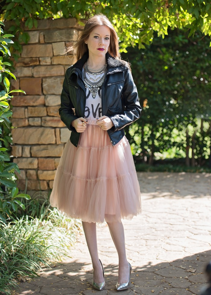 Leather Jacket, graphic t-shirt, tulle skirt, metallic high heels