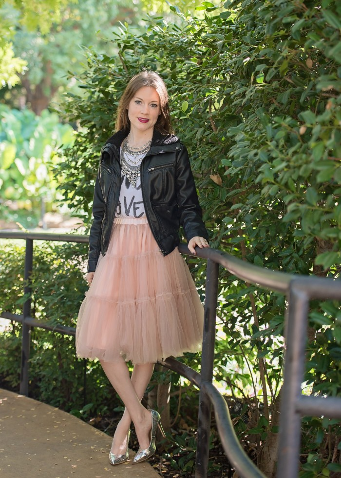 Leather Jacket, graphic t-shirt, tulle skirt, metallic high heels, statement necklace