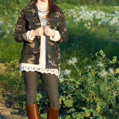 Fashion: Chunky Sweater + Camo + Riding Boots